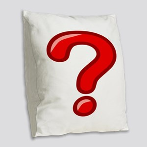 Red Question Mark Burlap Throw Pillow