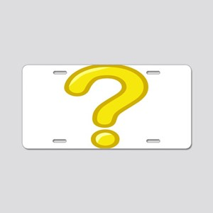 Yellow Question Mark Aluminum License Plate