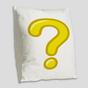 Yellow Question Mark Burlap Throw Pillow