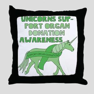 Unicorns Support Organ Donation Aware Throw Pillow
