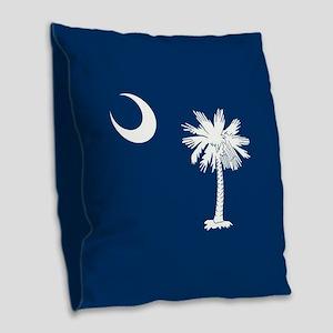 South Carolina Flag Burlap Throw Pillow