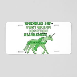 Unicorns Support Organ Dona Aluminum License Plate