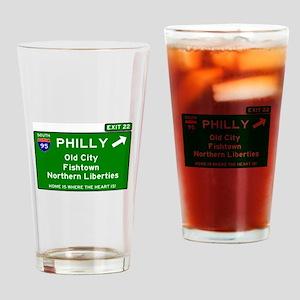 I95 INTERSTATE EXIT SIGN - PHILADEL Drinking Glass