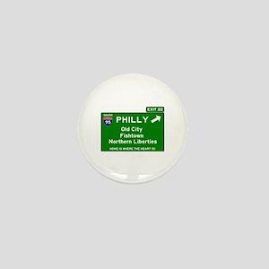 I95 INTERSTATE EXIT SIGN - PHILADELPHI Mini Button