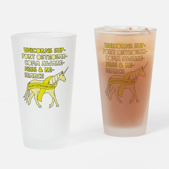 Unicorns Support Osteosarcoma Aware Drinking Glass