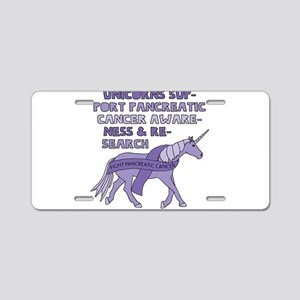 Unicorns Support Pancreatic Aluminum License Plate