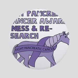 Unicorns Support Pancreatic Cancer Round Ornament