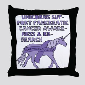 Unicorns Support Pancreatic Cancer Aw Throw Pillow