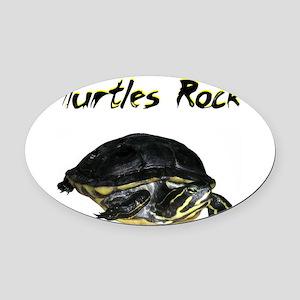 turtles_rock.jpg Oval Car Magnet