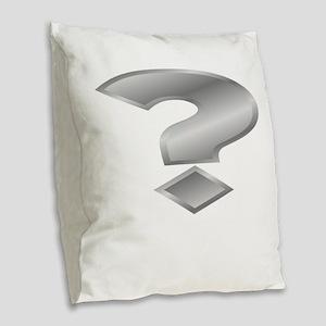 Silver Question Mark Burlap Throw Pillow