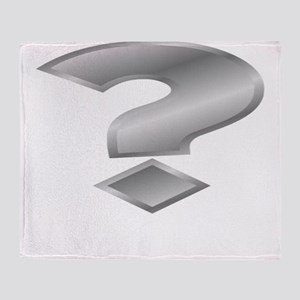 Silver Question Mark Throw Blanket