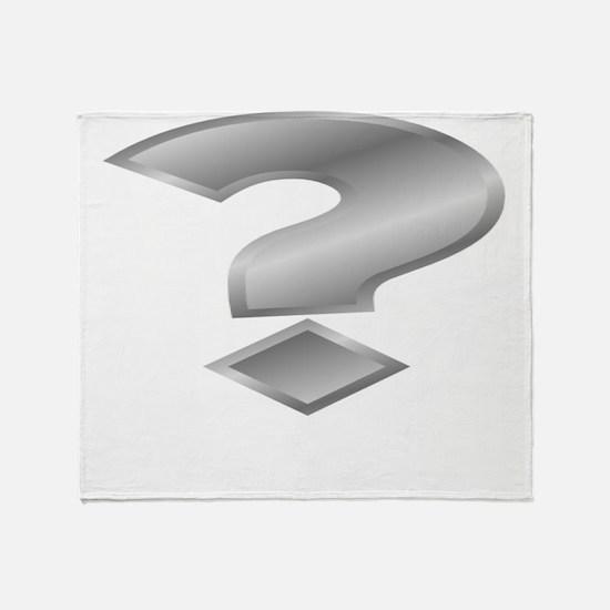 Silver Question Mark Throw Blanket