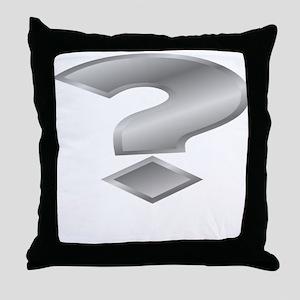 Silver Question Mark Throw Pillow