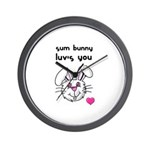sum bunny luv's you Wall Clock