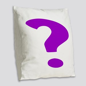 Purple Question Mark Burlap Throw Pillow