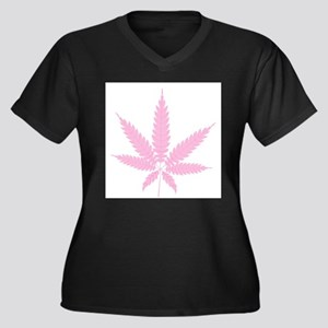 Pink Cannabis Leaf Plus Size T-Shirt