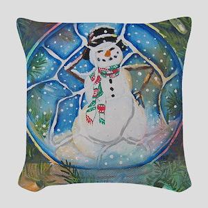Snow globe Snow Man Woven Throw Pillow