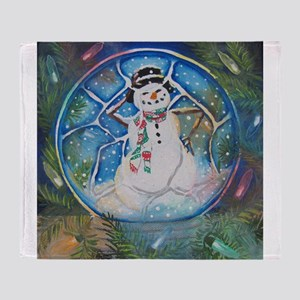 Snow globe Snow Man Throw Blanket