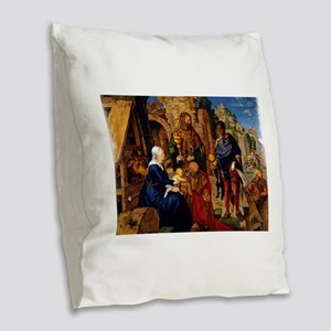 Adoration of the Magi by Albre Burlap Throw Pillow