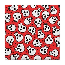 Skulls On Red Tile Coaster