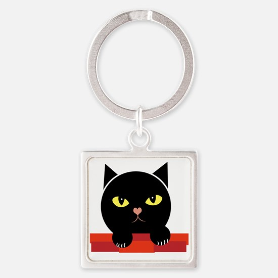 Annoyed Cat Square Keychain