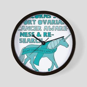 Unicorns Support Ovarian Cancer Awarene Wall Clock