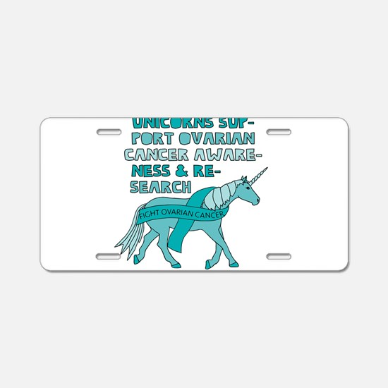 Unicorns Support Ovarian Ca Aluminum License Plate