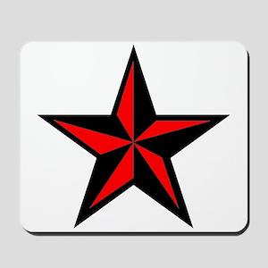 Red Nautical Star Punk Rock Design Mousepad