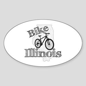 Bike Illinois Sticker (Oval)