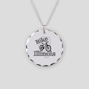 Bike Illinois Necklace Circle Charm