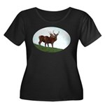 2 Bucks Women's Plus Size Scoop Neck Dark T-Shirt