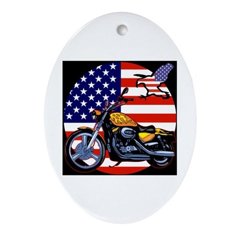 Patriotic Chopper Oval Ornament