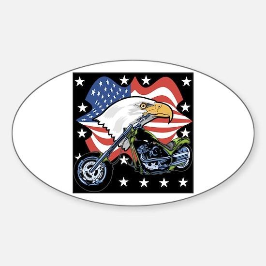 Patriotic Chopper Oval Decal