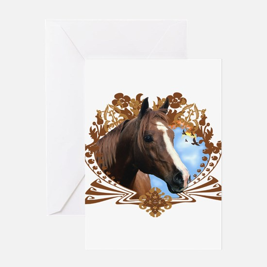 Horse Head Crest Greeting Cards