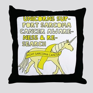 Unicorns Support Sarcoma Cancer Aware Throw Pillow