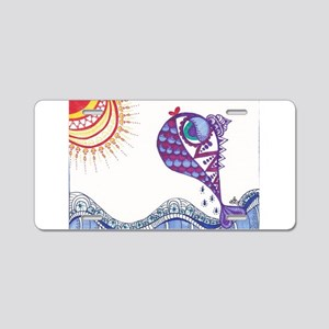 Zentangle Fish Purple Aluminum License Plate