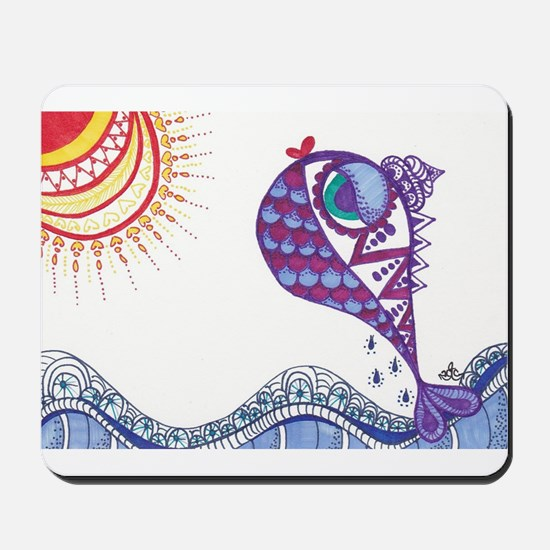Zentangle Fish Purple Mousepad