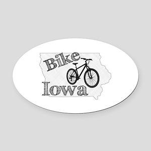 Bike Iowa Oval Car Magnet