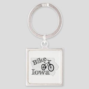 Bike Iowa Square Keychain