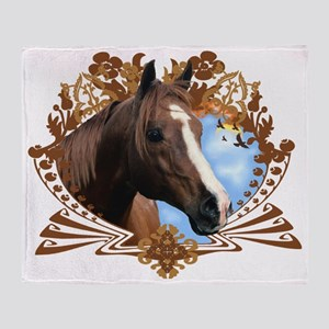 Horse Head Crest Throw Blanket
