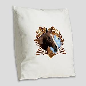 Horse Head Crest Burlap Throw Pillow
