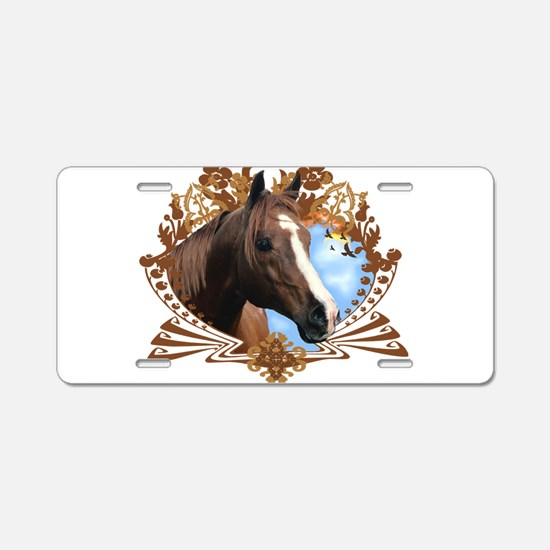 Horse Head Crest Aluminum License Plate