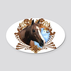 Horse Head Crest Oval Car Magnet