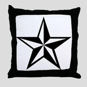 White Nautical Star Punk Rock Design Throw Pillow