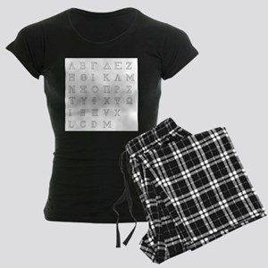 Greek Alphabet Isolated Women's Dark Pajamas