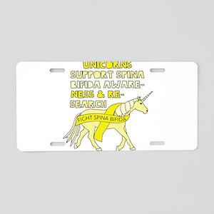Unicorns Support Spina Bifi Aluminum License Plate