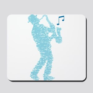 saxophone player made of notes Mousepad