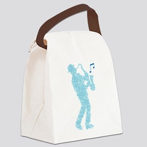 saxophone player made of notes Canvas Lunch Bag