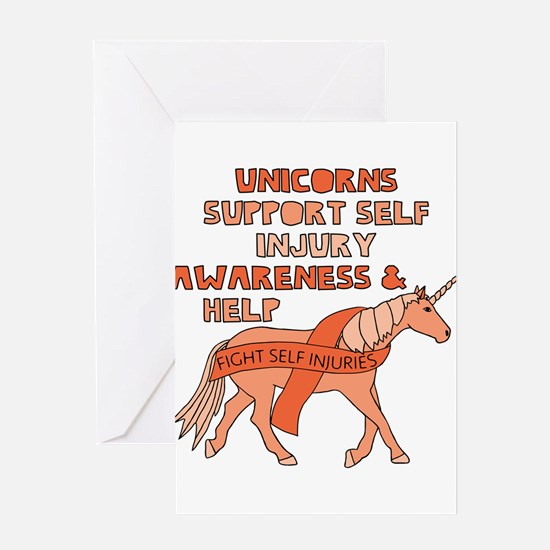 Unicorns Support Self Injury Awaren Greeting Cards