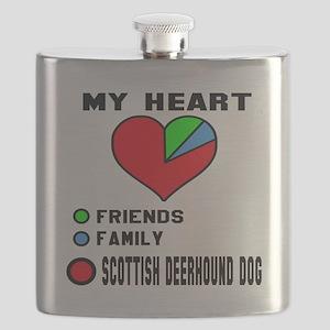 My Heart, Friends, Family, Scottish Deerhoun Flask